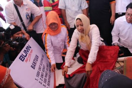 Menteri BUMN Datangi Posko Pengungsian Korban Gempa